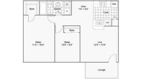 Two Bedroom One Bath Flat