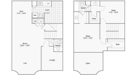 Two Bedroom Townhome Loft