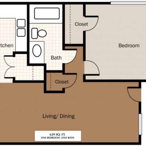 One Bedroom 629 SqFt