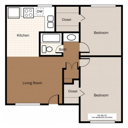 Two Bedroom 745 SqFt