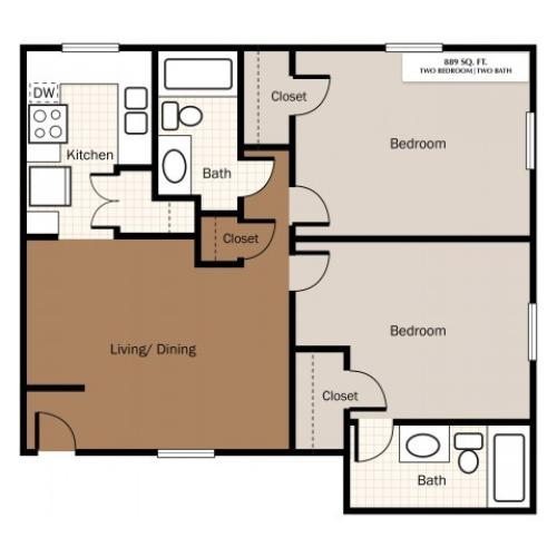Two Bedroom 889 Sq Ft