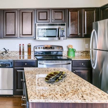 Island Kitchen with Stainless Appliances including microwave