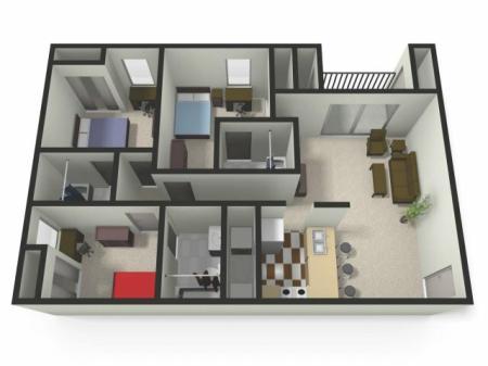 Three BedThree Bath Floor Plan   Three Bedroom Apartments near CMU