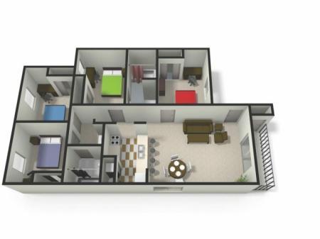 Four BedTwo Bath Floor Plan   Four Bedroom Apartments near CMU