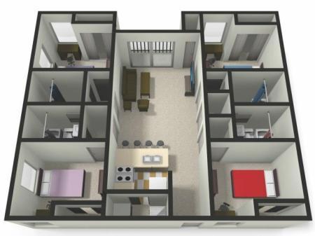 Four BedFour Bath Floor Plan   Four Bedroom Apartments near CMU