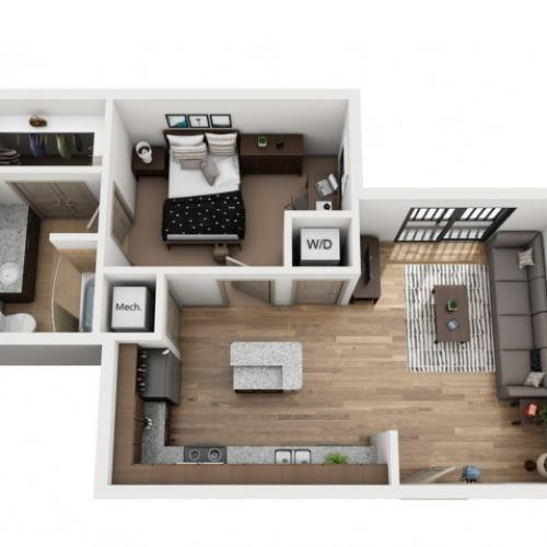 A1-B | 1 bed 1 bath | from 628 square feet