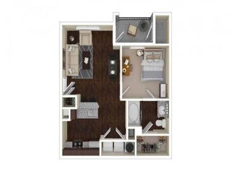 A1 | 1 bed 1 bath | from 601 square feet