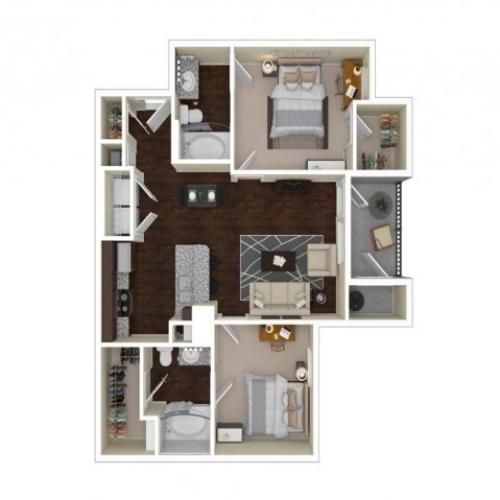 B2 | 2 bed 2 bath | from 860 square feet