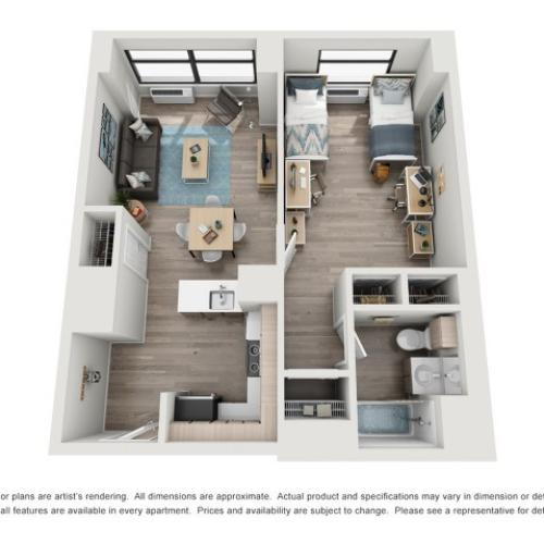 AR | 1 bed 1 bath | from 250 square feet