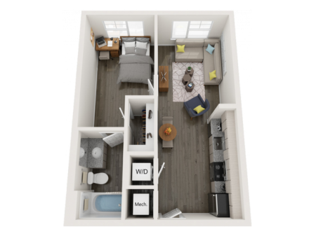 A1 | 1 bed 1 bath | from 540 square feet