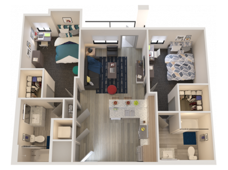 B1   2 bed 2 bath   from 904 square feet