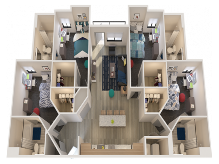 D1   4 bed 4 bath   from 1434 square feet