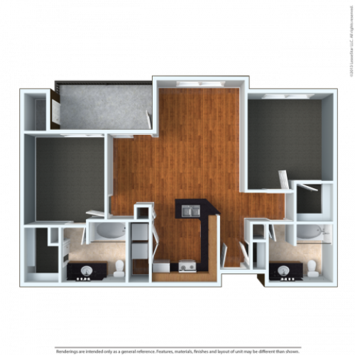 2x2LU | 2 bed 2 bath | from 1142 square feet
