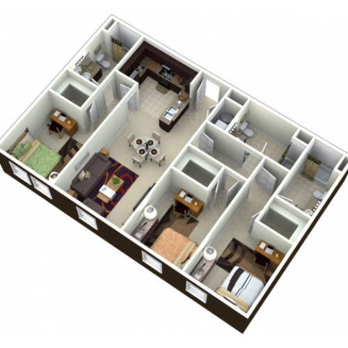 3X3 | 3 bed 3 bath | from 1245 square feet