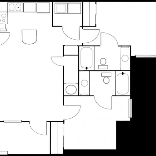 tt2-2u | 2 bed 2 bath | from 900 square feet