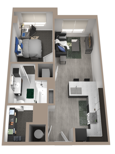 1x1 | 1 bed 1 bath | from 617 square feet