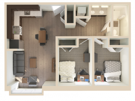 2X1   2 bed 1 bath   from 651 square feet