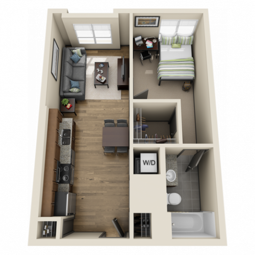 1X1A1 | 1 bed 1 bath | from 553 square feet