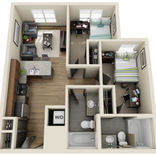 2X2B1 | 2 bed 2 bath | from 688 square feet