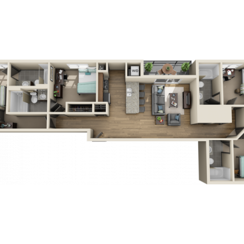 4X4D1 | 4 bed 4 bath | from 1336 square feet