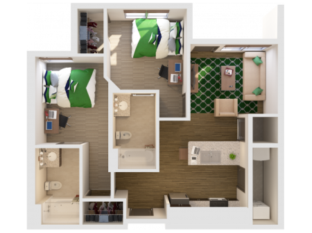 2x2 | 2 bed 2 bath | from 859 square feet