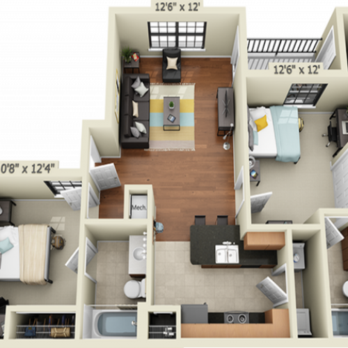 2X2B1 | 2 bed 2 bath | from 816 square feet