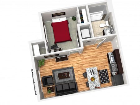 1X1B   1 bed 1 bath   from 491 square feet