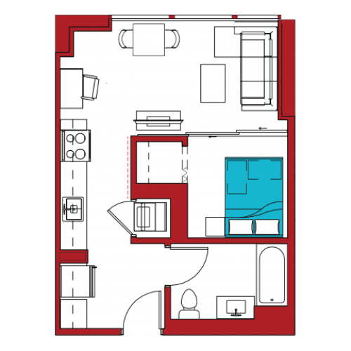 A1 | 1 bed 1 bath | from 495 square feet