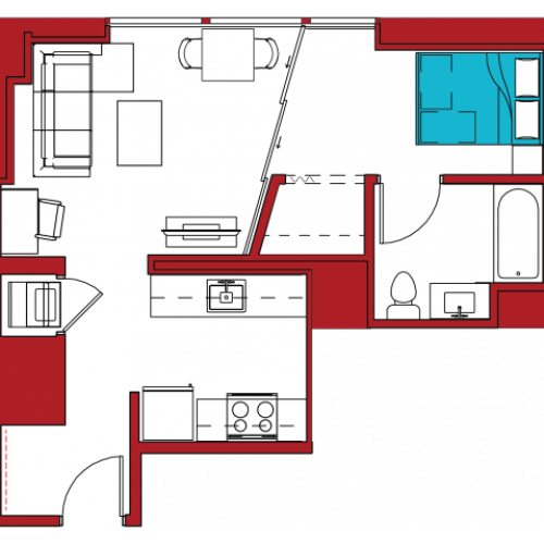 A2 | 1 bed 1 bath | from 520 square feet