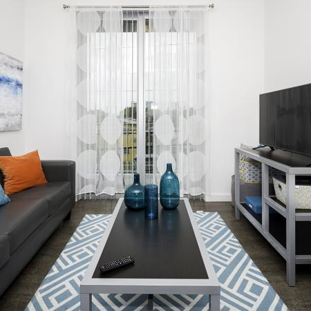 109 Tower, interior, living room, wood floor, blue and white area rug, black and gray furniture, sofa, coffee table, tv stand, tv, blue and orange decor, sliding glass doors to balcony