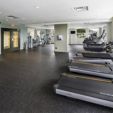 109 Tower, interior, fitness center, spacious, weight machines, treadmills, large windows,