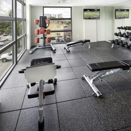 109 Tower, interior, fitness center, large windows, free weights and benches