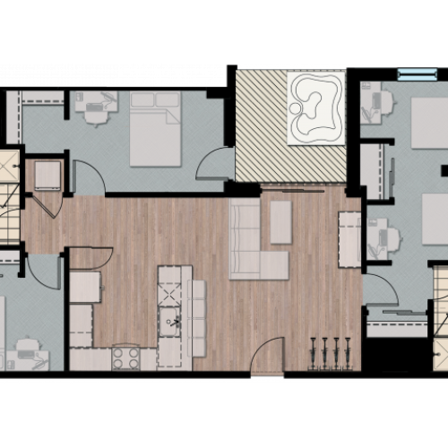 3X4D2 | 3 bed 4 bath | from 1021 square feet