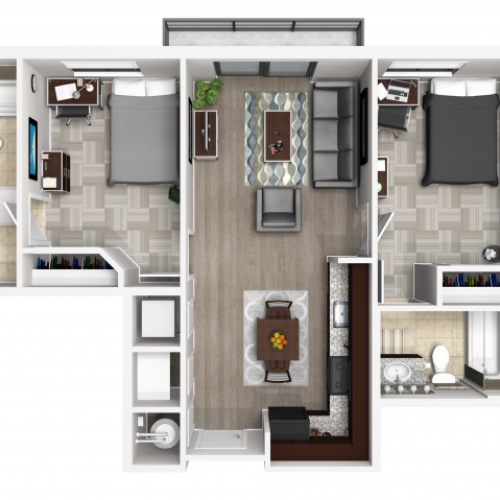 2X2A | 2 bed 2 bath | from 760 square feet