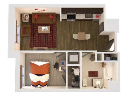 1x1   1 bed 1 bath   from 572 square feet