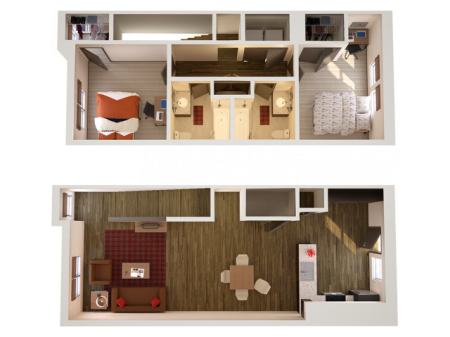 2x2TH   2 bed 2 bath   from 1216 square feet