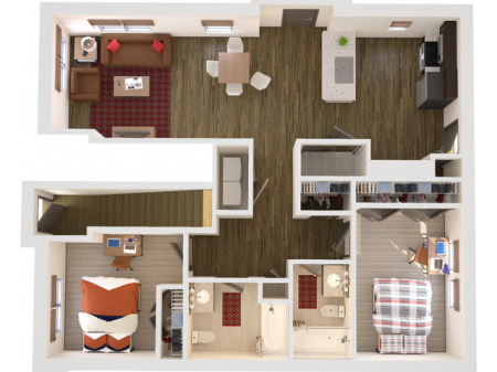 2x2F   2 bed 2 bath   from 1080 square feet