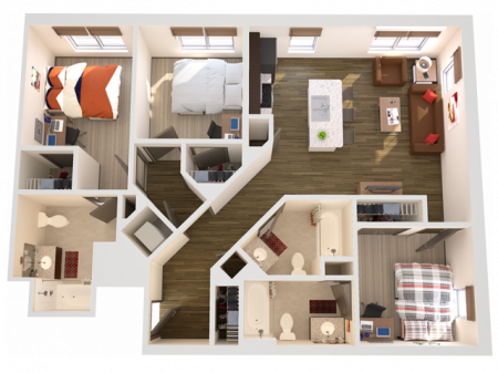 3x3   3 bed 3 bath   from 1160 square feet
