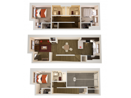 3x3TG   3 bed 3 bath   from 1540 square feet