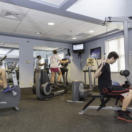 Residents in fitness center