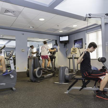 Residents in fitness center