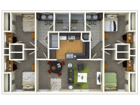 Four Beds Two Bath Flat