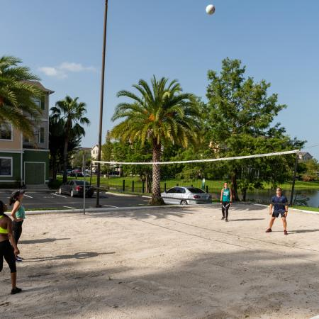 Playing Sand Volleyball