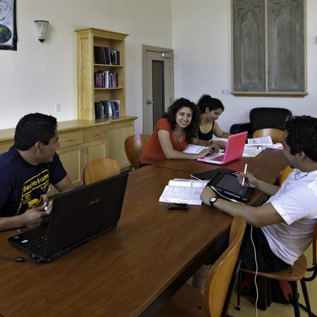 Residents Doing Homework in Study Lounge