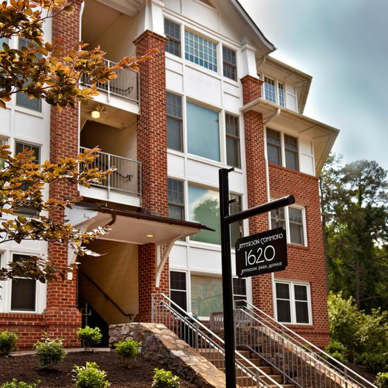 Steps to apartment complex