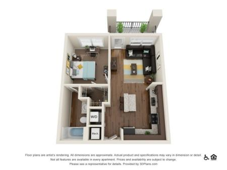 A1 1x1   1 bed 1 bath   from 564 square feet