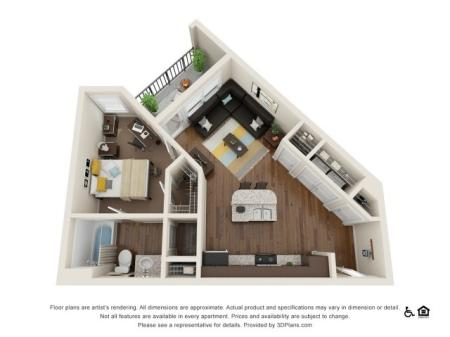 A2 1x1   1 bed 1 bath   from 634 square feet
