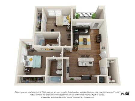 B1 2x2   2 bed 2 bath   from 924 square feet