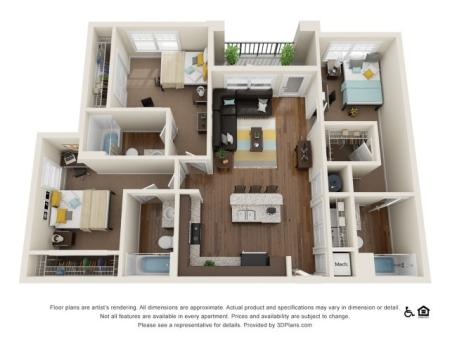 C1 3x3   3 bed 3 bath   from 1200 square feet