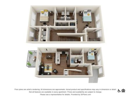 Milledge 3x3   3 bed 3 bath   from 1317 square feet
